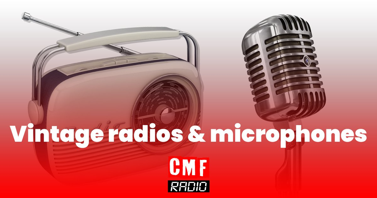 vintage radio and microphones